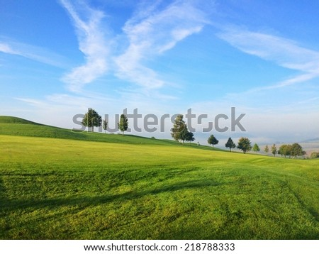 Morning on a golf course - stock photo