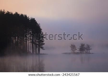 morning on a misty lake  - stock photo