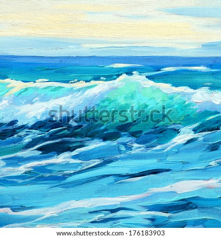 morning on sea, wave,  illustration, painting by oil on a canvas - stock photo