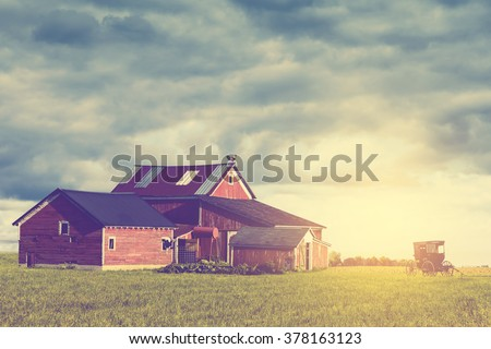 Morning on the American Farm (Retro) - stock photo