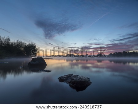 morning on the river - stock photo
