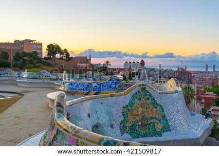Morning panorama of Barcelona, Spain viewed from Park Guell  - stock photo