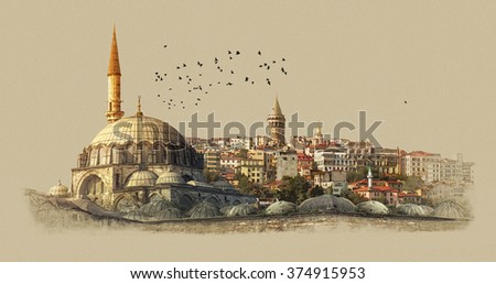 Morning panorama of Istanbul, Turkey. Sketch watercolor on old paper - stock photo