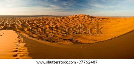 Morning panorama view on dunes of Sahra desert - stock photo