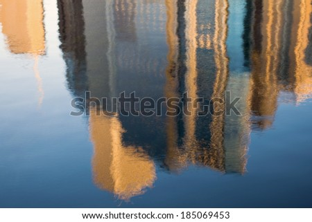 Morning reflection on Chicago buildings - seen in the marina. No filters used. - stock photo