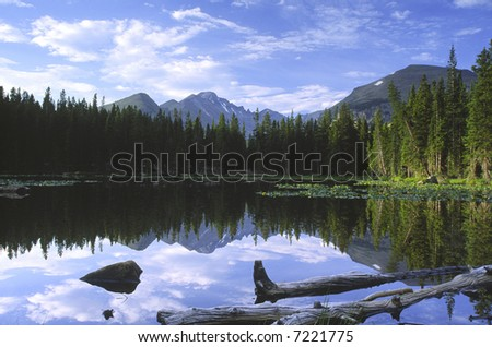 Morning reflections at Bear Lake in Rocky Mountain National Park - stock photo