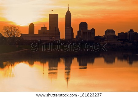 Morning silhouette of Indianapolis, Indiana, USA. - stock photo