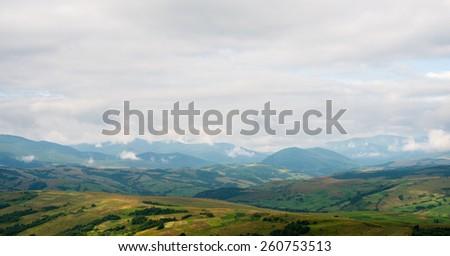 Morning summer landscape in the Ukrainian Carpathian Mountains. - stock photo