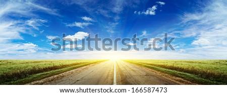 Morning summer road panorama. Natural background - stock photo
