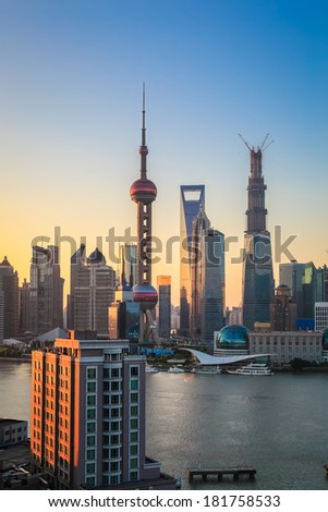 morning sun shining in the pudong district of shanghai - stock photo