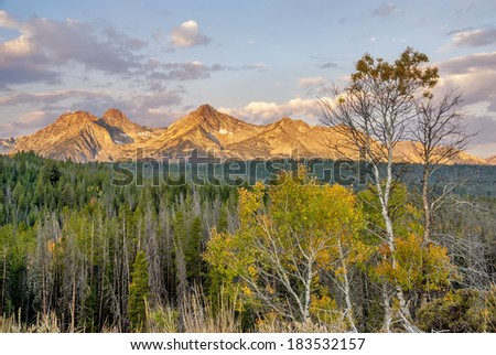 Morning sunrise on the Sawtooth mountains in autumn - stock photo