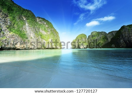 morning time at  Maya bay, Phi Phi Leh island,Thailand - stock photo