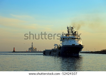 Morning to return the ship to sea. - stock photo