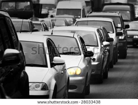 Morning traffic jam on a road in Kiev 3 - stock photo