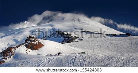 Morning view at Elbrus mountain - stock photo