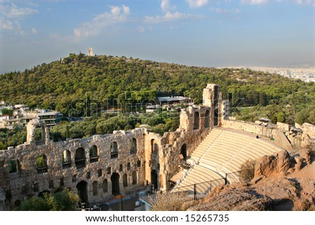 Morning view from Acropolis, Athens. - stock photo