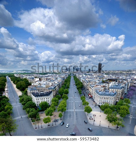 Morning view from Arc de Triomphe at Paris'  business district Defense - stock photo