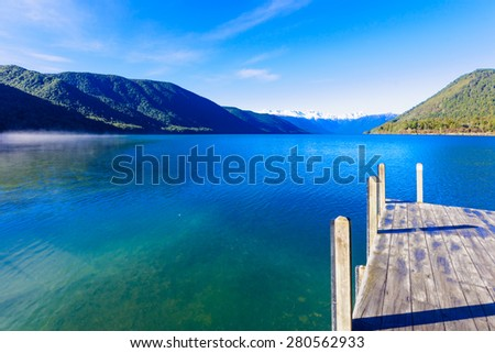 Morning view in Nelson Lakes National Park, New Zealand - stock photo
