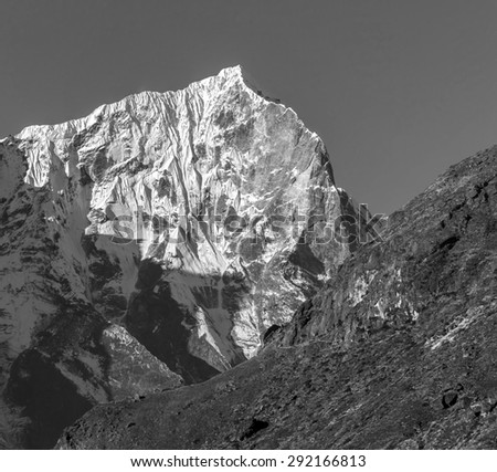 Morning view of himalayan peaks from Sounder peak - Thame, Nepal (black and white) - stock photo