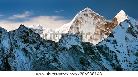 Morning view of Kangtega peak - way to Everest base camp - Nepal - stock photo