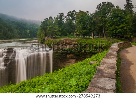Morning view of Middle Falls, Letchworth State Park, New York. - stock photo