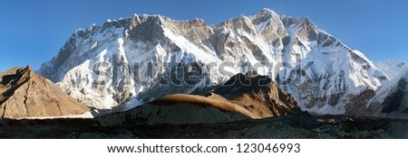 morning view of southern face of lhotse and nuptse - trek to Everest base camp - nepal - stock photo