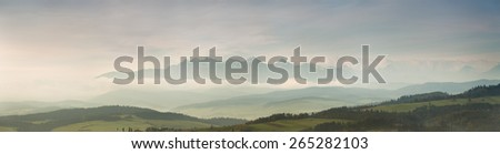 Morning with view of Tatras - stock photo