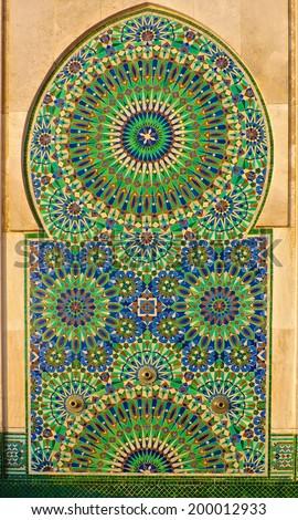 Moroccan arabesque design on the gates of the Mosque Hassan II in Casablanca Morocco - stock photo