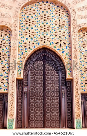 Moroccan architecture traditional design. Casablanca, Morocco. - stock photo
