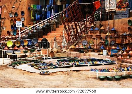Moroccan ceramics for sale in a souk - stock photo