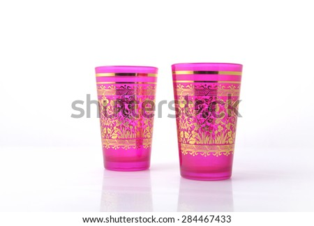 Moroccan design colorful glasses on white background. - stock photo