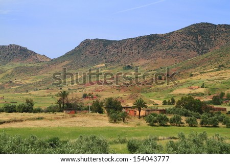 Moroccan Fields in Atlas Mountains - stock photo