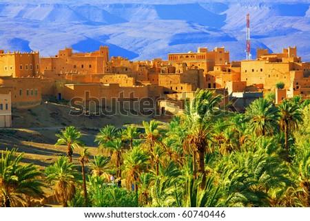 Moroccan Kasbah, Atlas Mountains, Africa - stock photo