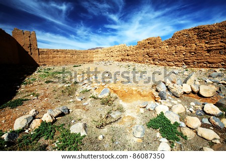 Moroccan kasbah ruins, Atlas Mountains, Africa - stock photo