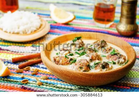 Moroccan lemon cardamom meatballs with rice. the toning. selective focus - stock photo