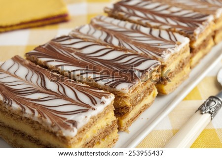Moroccan mille feuille pastries in a row - stock photo