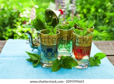 Moroccan mint tea  - stock photo