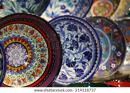 Moroccan plates on the market - stock photo