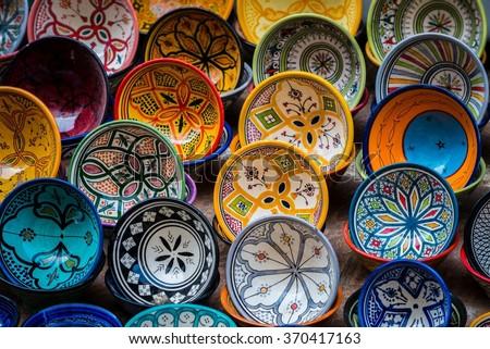 moroccan pottery - stock photo