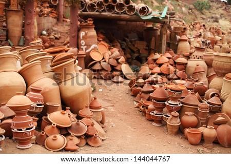 Moroccan pottery near Uric - stock photo