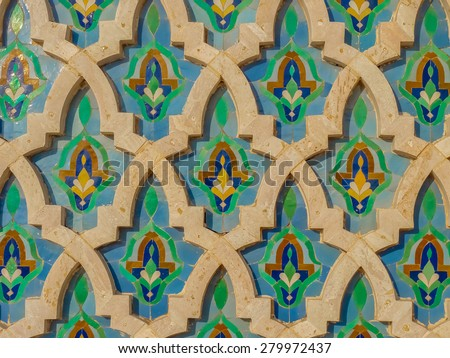 Moroccan tile on the wall of the Mosque Hassan II in Casablanca Morocco - stock photo