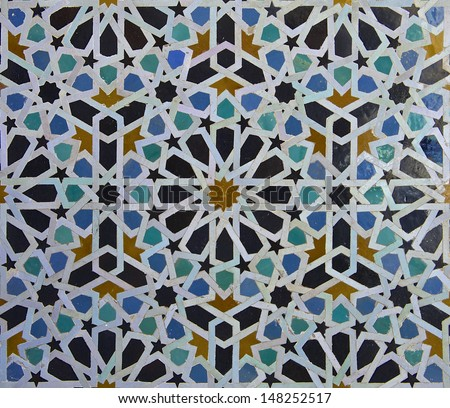 Moroccan tile pattern in a  riad Fes Morocco - stock photo