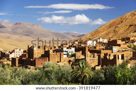 Moroccan village in Dades Valley, Morocco, Africa - stock photo