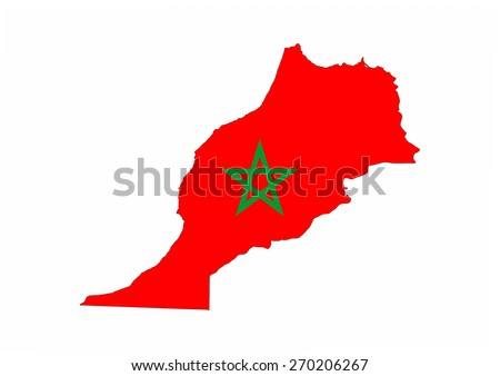 morocco country flag map shape national symbol - stock photo