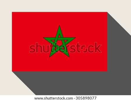 Morocco flag in flat web design style. - stock photo