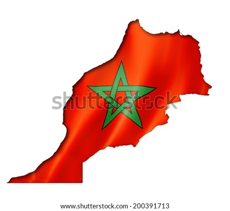 Morocco flag map, three dimensional render, isolated on white - stock photo