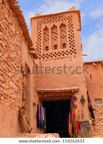Morocco Ouarzazate - Ait Ben Haddou Medieval Kasbah built in adobe and stone - UNESCO World Heritage Site. Detail of a typical Berber tribal geometrical exterior wall decoration. - stock photo