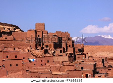 Morocco Ouarzazate Ben Ait Haddou Medieval Kasbah built in adobe - UNESCO World Heritage Site - stock photo