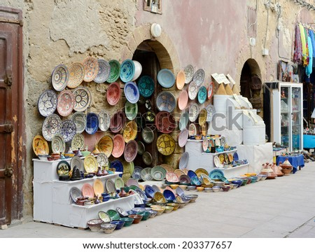 Morocco shop front showing handmade crafts and pottery - stock photo