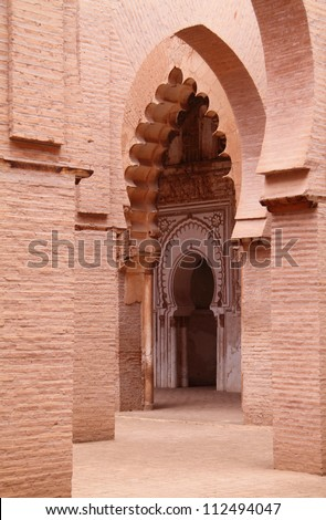 Morocco 12th Century Tin Mel or Tinmal Mosque in the High Atlas Mountains - UNESCO World Heritage Site - stock photo